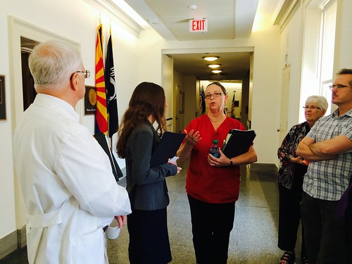 NNU Co-President Deborah Burger, RN, and other health care advocates made the case for Medicare for All to staff for Rep. Raul Grijalva (D-AZ).