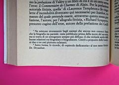Soglie, di Gérard Genette. Einaudi 1989. Responsabilità grafica non indicata [Munari]. Sistema delle note, a pié di pagine (la numerazione riparte a ogni capitolo): pag.: 176 (part.), 1