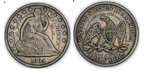 1864 Masonic Engraved Half Dollar