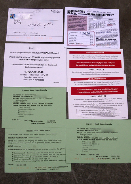Post card scams