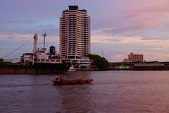Evening and sunset on the Chao Phraya river in Bangkok, Thailand