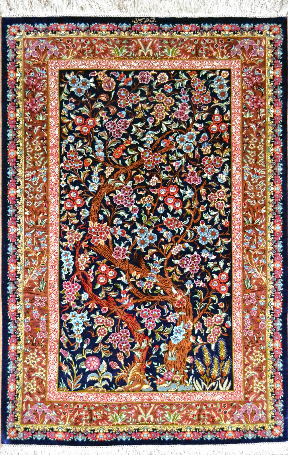 Qum Tree Of Life Silk Persian Rug Item 1418