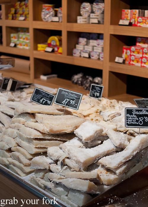 Bacalhau salted cod fillets at Mercado de Abastos farmers market in Santiago de Compostela, Spain