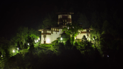 Trongsa Tower at night