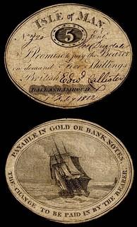 1812 Isle of Man cardboard note