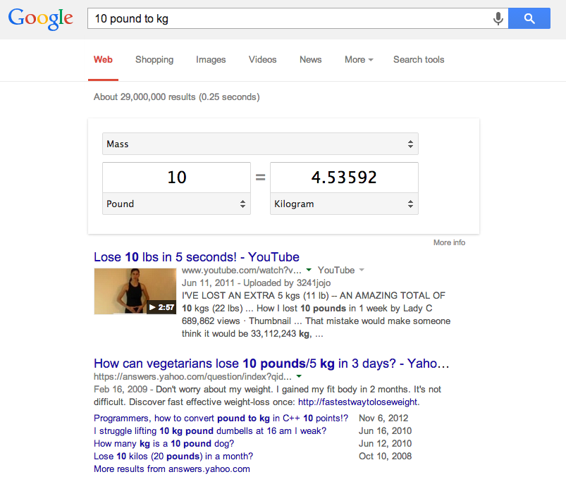 Google Search - Convert Weight