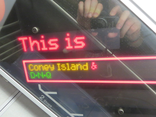 The F train New York City subway to Coney Island, Brooklyn