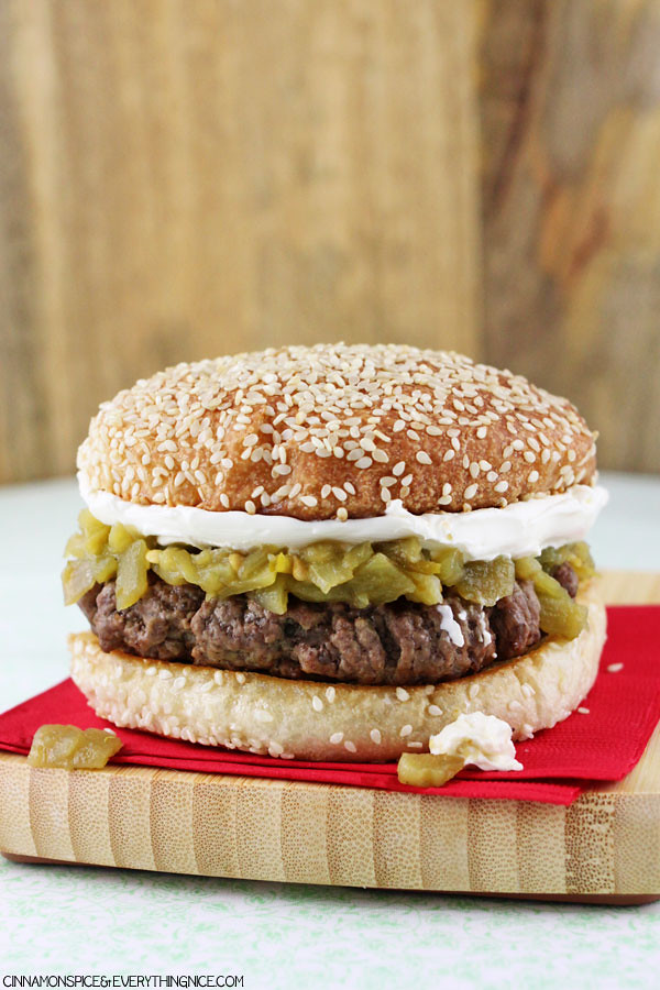Cream Cheese & Green Chile Burgers