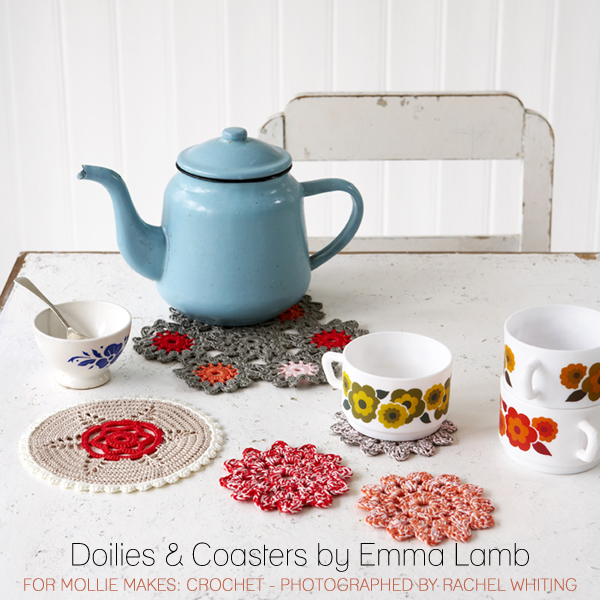 Doilies and coasters by Emma Lamb for Mollie Makes: Crochet - photographed by Rachel Whiting