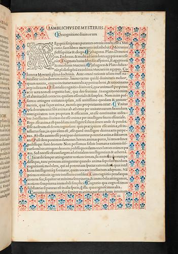 Decorated border in Jamblichus: De mysteriis Aegyptiorum, Chaldaeorum, Assyriorum
