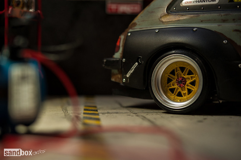 Dubdrift Toyota STARLET KP61 RC Drift Rusty Effect on sandbox speedhunters drift garage 14388792173_f7d5d9f466_c