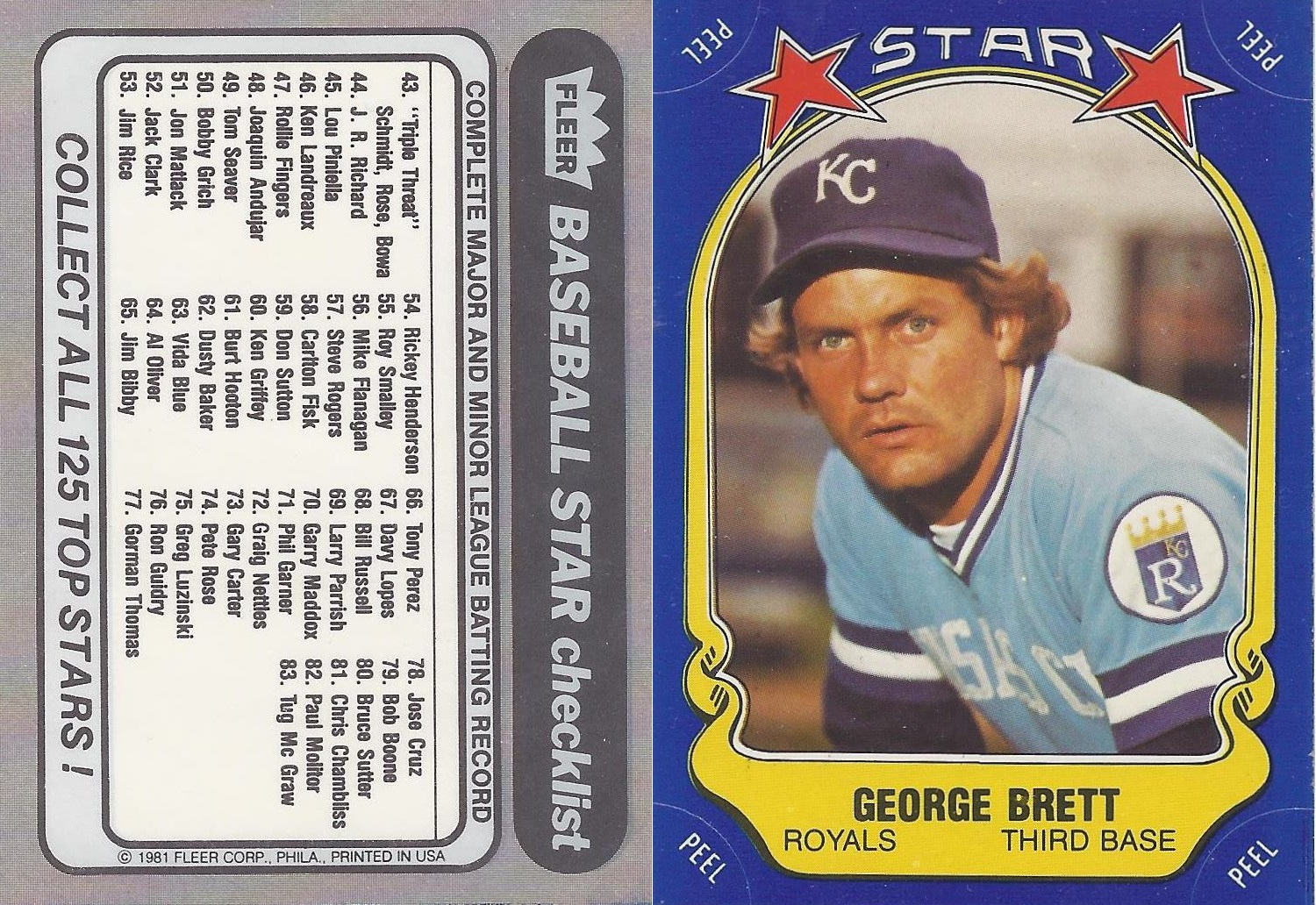 1981 Fleer Stickers 127b
