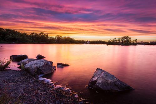 sunset lake water clouds rocks novascotia ns dartmouth albrolake