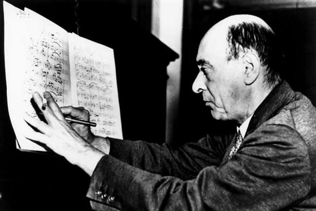 Arnold Schoenberg composing, c. 1930
