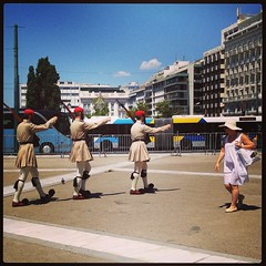 Soldiers with skirts and pom pom shoes. Got to be done. #athens