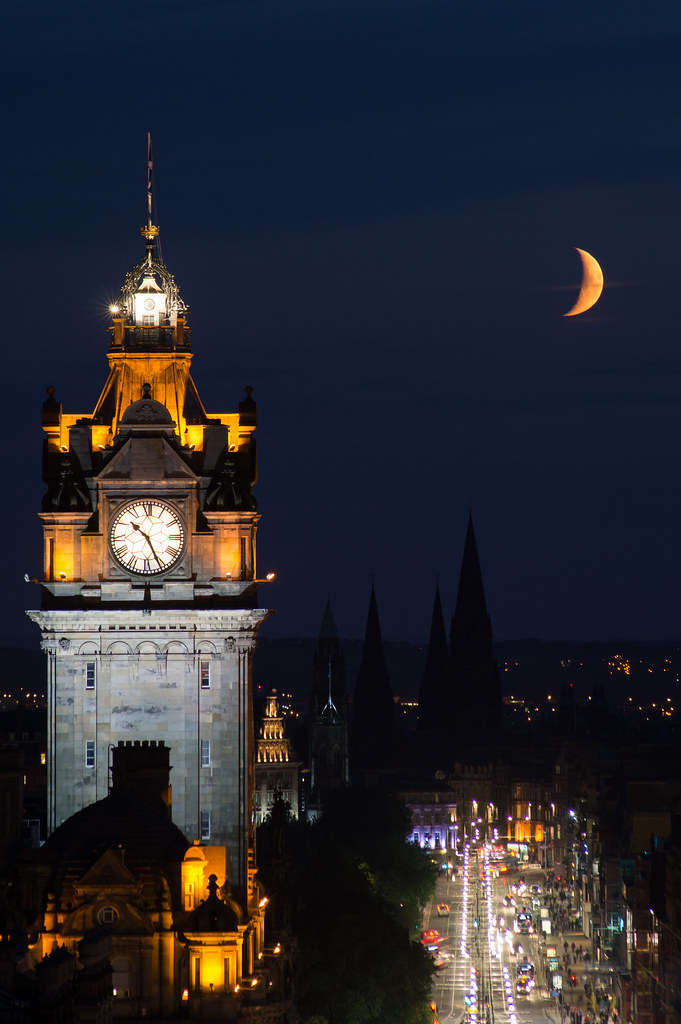 Crescent moon setting over Princes Street