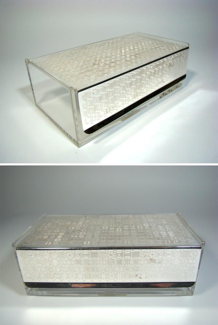 wmf box schatulle s collection plexiglas versilbert design kupetz radtke era. Black Bedroom Furniture Sets. Home Design Ideas
