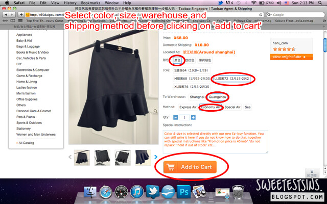 step by step guide on how to shop on taobao using 65daigou_select color size warehouse shipping method