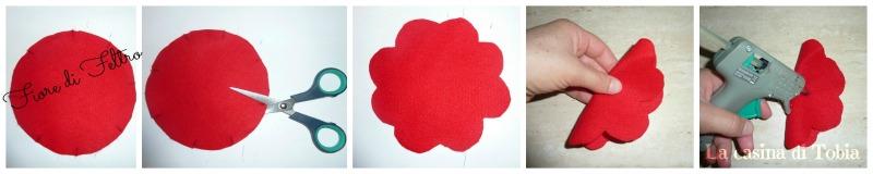 fiore di feltro con cerchi di stoffa