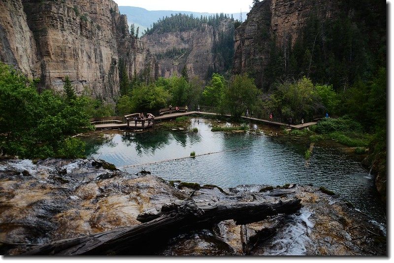 Looking down to Hanging Lake from  the top of the Falls 2