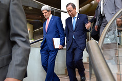 U.S. Secretary of State John Kerry walks with United Nations Secretary-General Ban Ki-moon before a follow-up meeting on July 25, 2014, in Cairo, Egypt, as regional and international leaders try to craft a cease-fire agreement to halt the fighting between Israel and Hamas in the Gaza Strip. [State Department photo/ Public Domain]