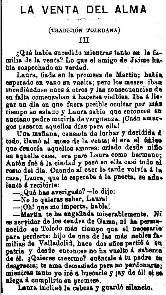 """""""La Venta del Alma"""", leyenda toledana publicada por Adrián García Age el 7 de septiembre de 1891 en """"El Correo Militar"""". (5)"""