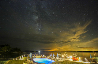 Salt Water Pool under a starry sky