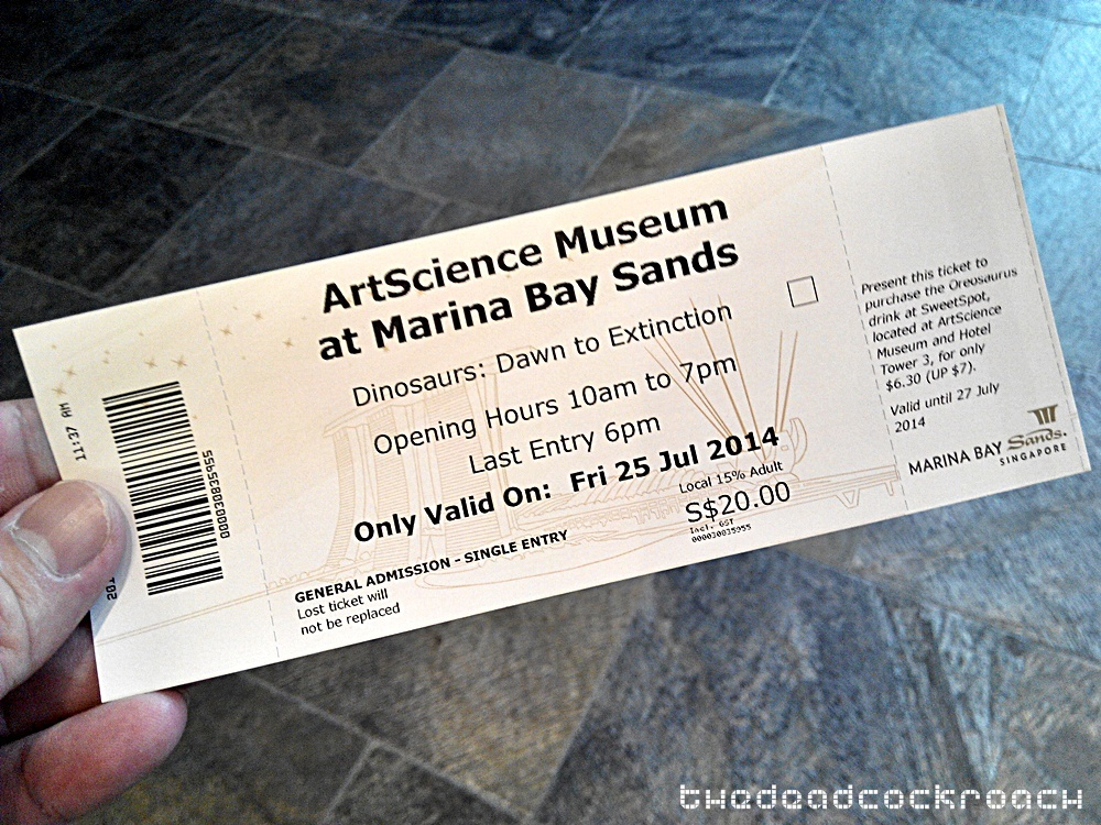 artscience museum, dawn to extinction, dinosaurs, exhibition, marina bay sands, mbs, singapore,tickets