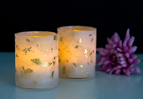 DIY Gold Leaf Votive Holders