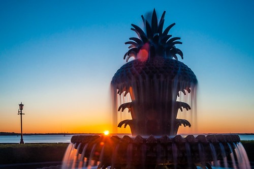 charleston chs southcarolina sc downtown waterfrontpark sunrise pineapplefountain