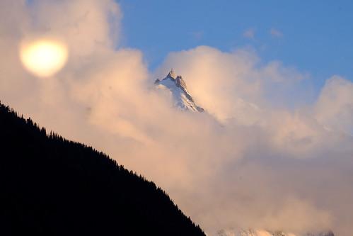 sunset montain chamonix argentiere snow neige aiguilledumidi alpes