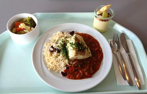 Seelachs auf karibische Art & Bohnenreis / Coalfish carribean style & bean rice
