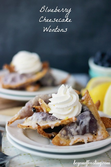 Blueberry Cheesecake Wontons | beyondfrosting.com | #blueberry