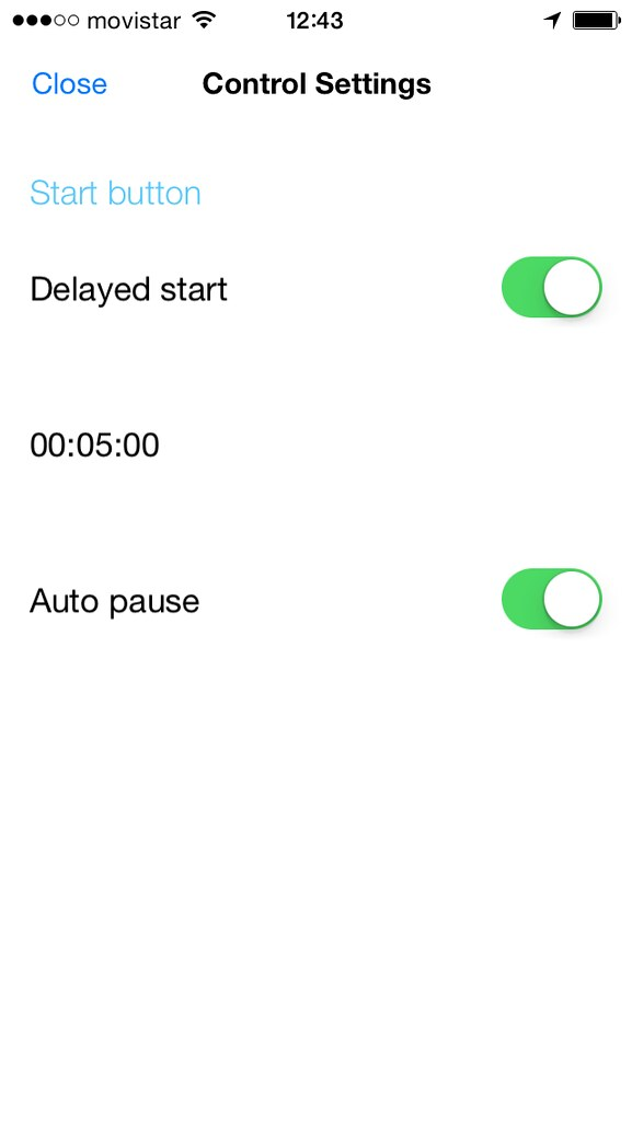 Kinetic timer settings