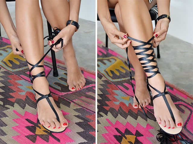 Make wrapped gladiator sandals www.apairandasparediy.com