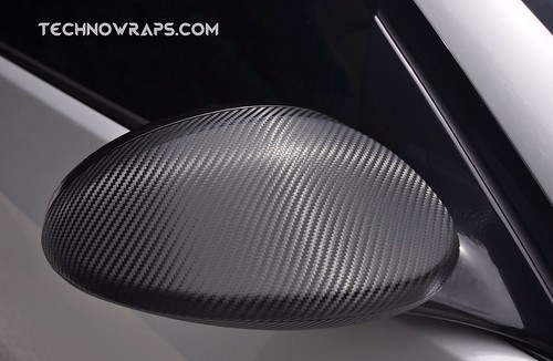 Carbon fiber wrapped BMW car mirror