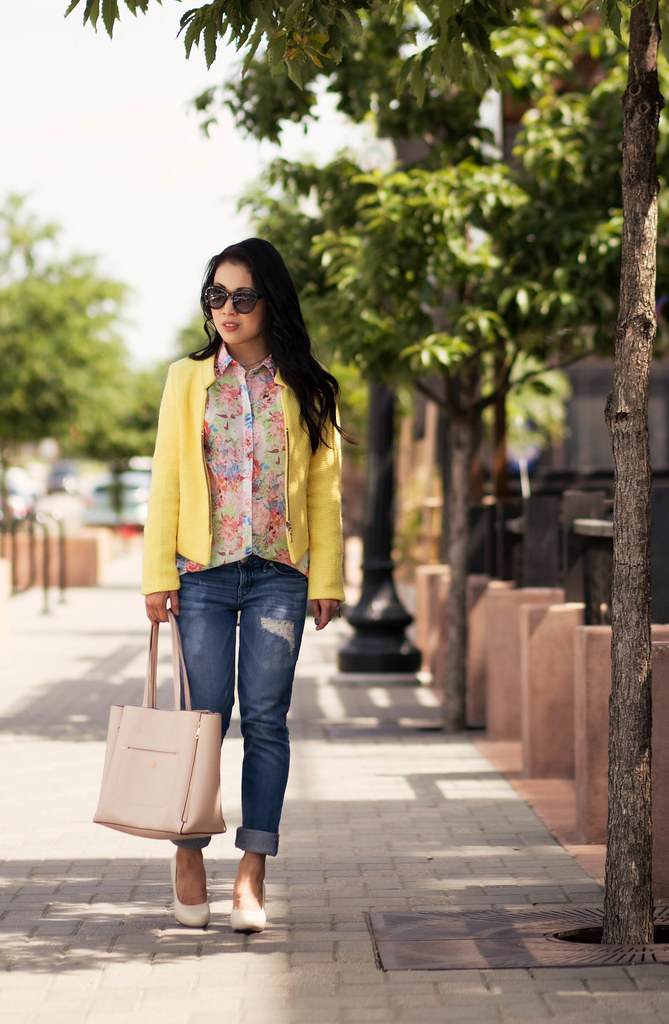 cute & little blog | petite fashion | yellow boucle jacket, floral chiffon blouse, distressed boyfriend jeans, white pumps | spring outfit