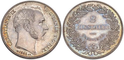 Denmark 1864 RH 2 Riksdaler
