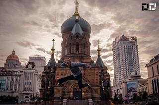 Jumping for Joy in Har Er Bin, China
