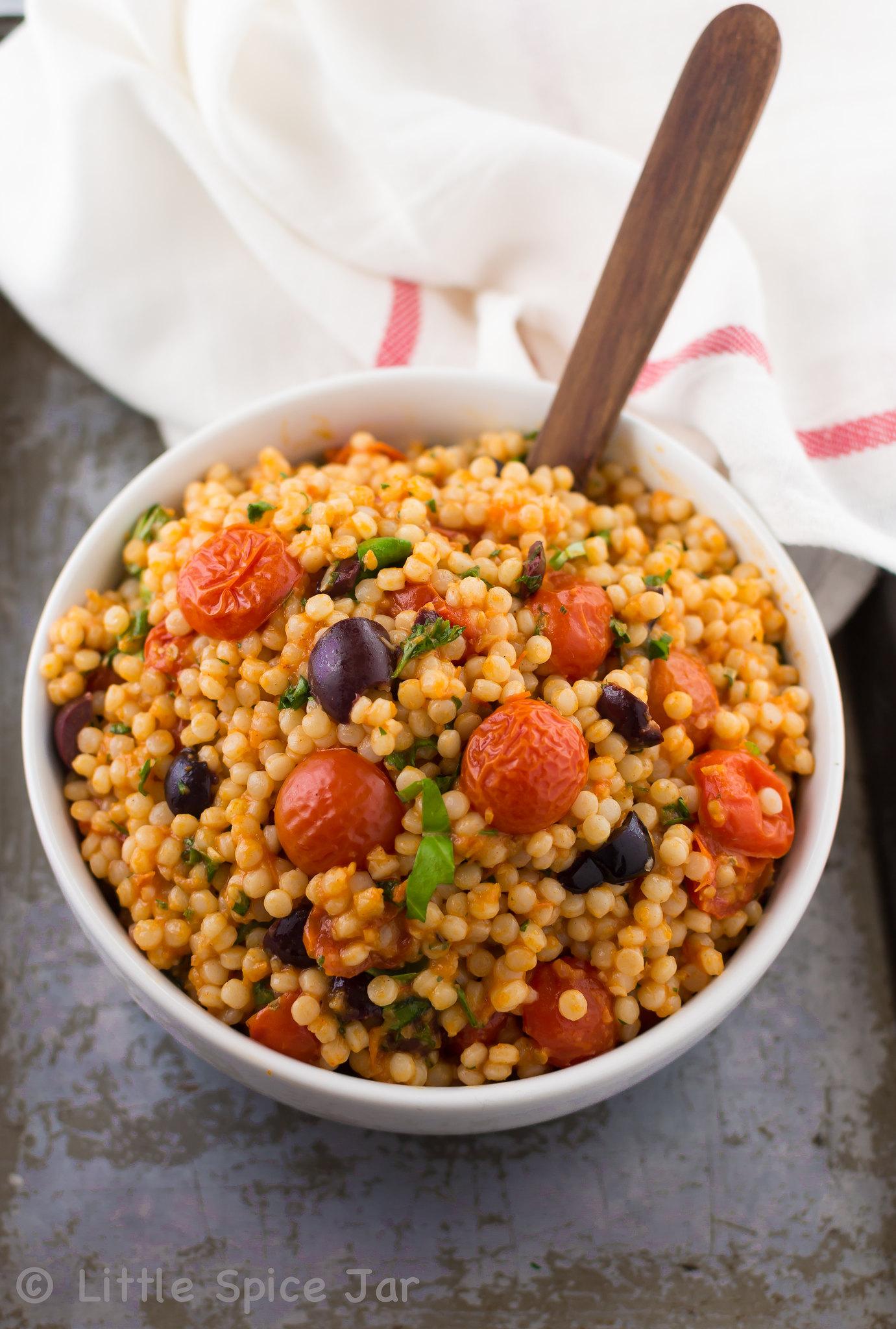 Mediterranean Pearl Couscous Salad (Israeli Couscous) White Plate 9