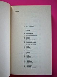 Soglie, di Gérard Genette. Einaudi 1989. Responsabilità grafica non indicata [Munari]. Indice: pag. V (part.), 2