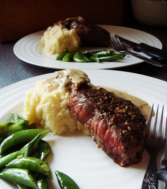 Pan Seared Bison, Garlic Parmesan Mashed Potato, Sugar Snap Peas, Crimini Gravy