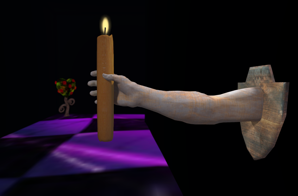 The long arm holding a candle