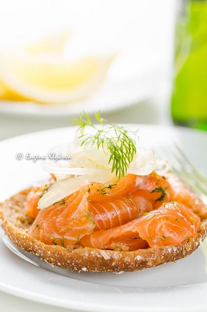 Salted salmon on bread