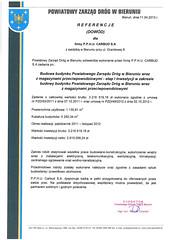 Referencje Powiatowego Zarządu Dróg w Bieruniu 2013r.