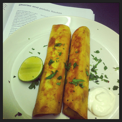 Chorizo and potato flautas