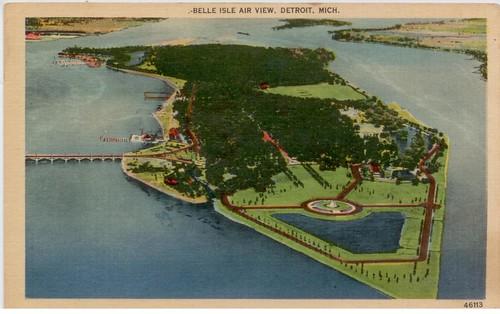 belle-isle park, Detroit, Detroit River, postcard
