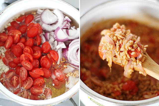 One-Pot Farro with Tomatoes and Feta | girlversusdough.com