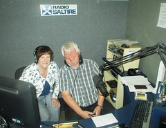 Being interviewed by Andy Morris on Radio Saltire