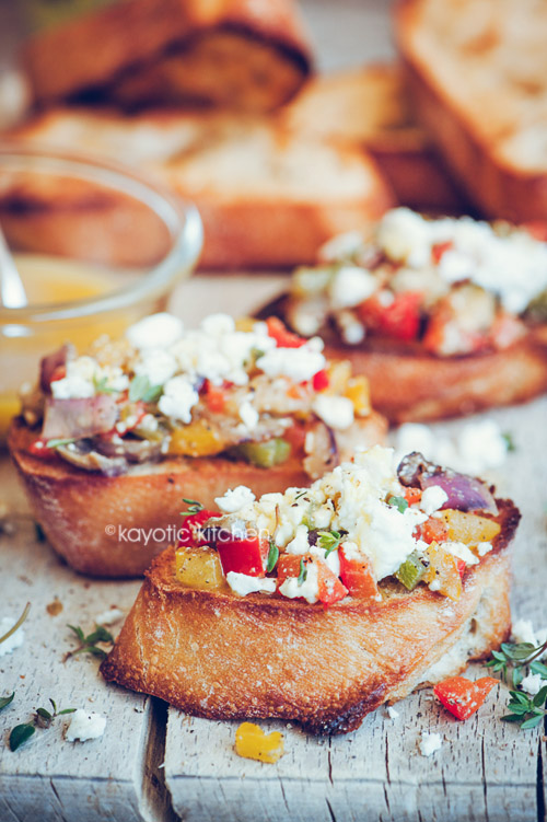Roasted Pepper & Feta Crostini